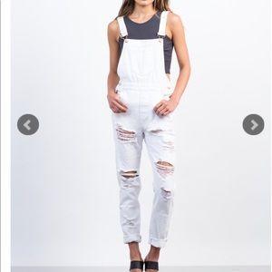 Denim white overalls